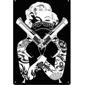 Marilyn Monroe sexy tattoo handgun metal sign b70-marilyn monroe-39 Metal Sign artwork store