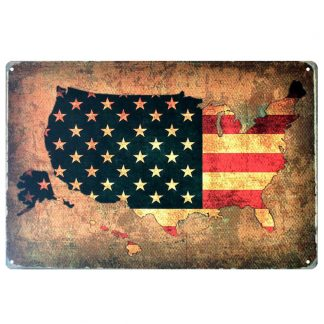 vintage map of American flag patriotic metal tin sign b74-USA Flag-5 Metal Sign aluminum plaques