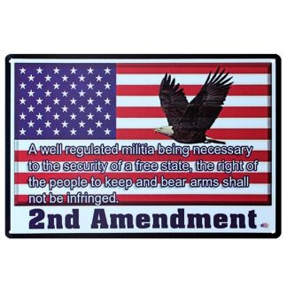 US flag 2nd Amendment eagle metal tin sign b74-USA Flag-6 Metal Sign 2nd Amendment