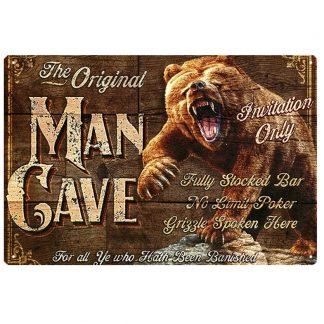 man cave bear metal tin sign b79-GD20-U-16 Metal Sign bear
