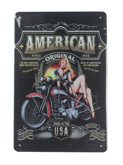 motorcycle pin-up sexy women tin metal sign 0006a Gas Oil Automotive cheap home kitchen wall art prints
