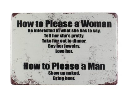 How to please women man tin metal sign 0007a Metal Sign How