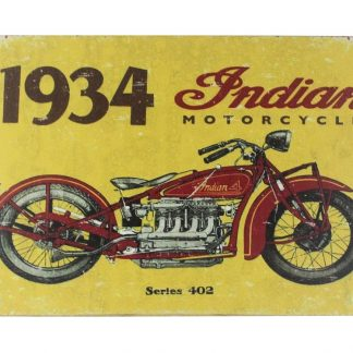 1934 Indian motorcycle biker tin metal sign 0009a Gas Oil Automotive 1934