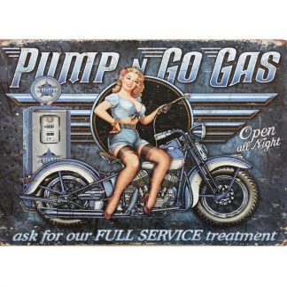 Pump Go Gas pin-up girl motorcycle tin metal sign 0010a Gas Oil Automotive advertising wall art