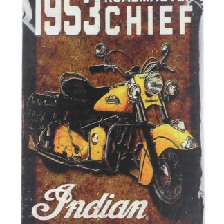 1953 roadmaster chief Indian motorcycle tin metal sign 0013a Gas Oil Automotive 1953