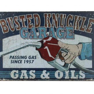 Busted Knuckle Garage gas oils tin metal sign 0021a Gas Oil Automotive Busted
