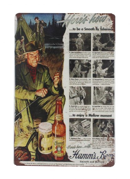 Hamms Beer fisherman tin metal sign 0032a Beer Wine Liquor best wall restaurant pub living room