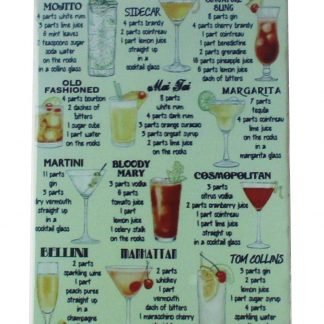 Classic cocktail Recipes tin metal sign 0040a Beer Wine Liquor art home decor