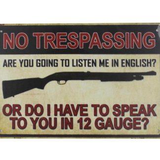 No Trespassing gun tin metal sign 0053a Metal Sign cafe pub reproduction