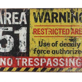 Area 51 No Trespassing warning tin metal sign 0060a Metal Sign 51