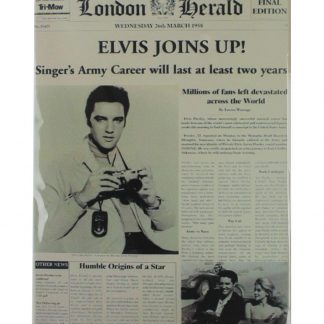 Elvis Joins Up Newspaper tin metal sign 0062a Metal Sign cafe pub poster metal wall art