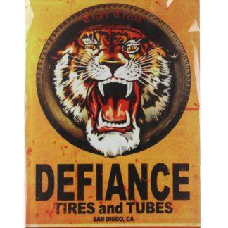 Defiance Tires Tubes tiger tin metal sign 0074a Metal Sign Defiance