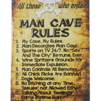 man cave rules tin metal sign 0080a Metal Sign discount home decor