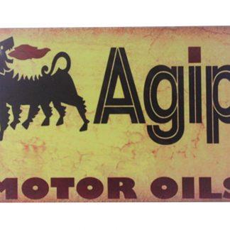 Agip motor oils tin metal sign 0083a Gas Oil Automotive Agip