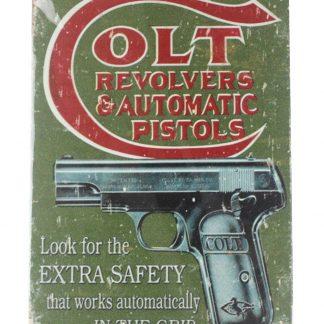 colt revolvers automatic pistols gun vintage tin metal sign 0089a Metal Sign automatic