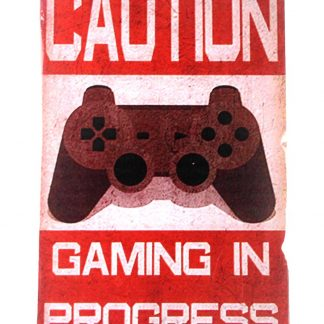 gaming in progress caution tin metal sign 0090a Metal Sign caution