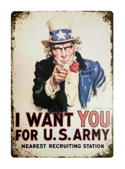 I want you for U.S. army Uncle Sam tin metal sign 0106a Metal Sign army