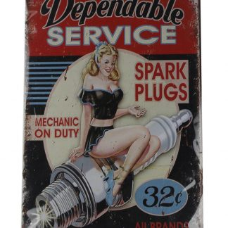 pin-up girl dependable service spark plugs tin metal sign 0107a Metal Sign dependable