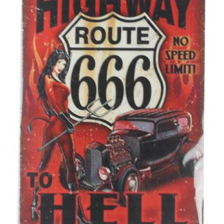 highway route 666 to hell no speed limit metal sign 0108a Gas Oil Automotive dorm room wall art decor