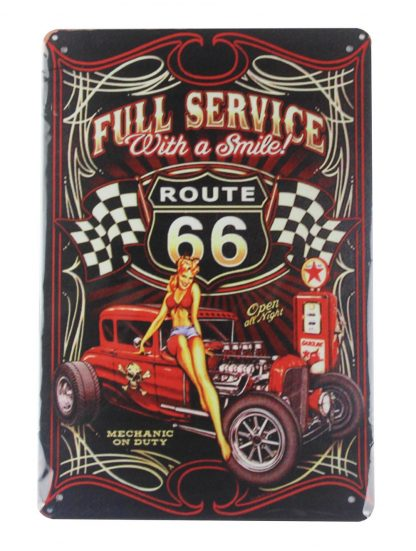 route 66 pin up girl mechanic on duty tin metal sign 0116a Gas Oil Automotive circle metal wall decor