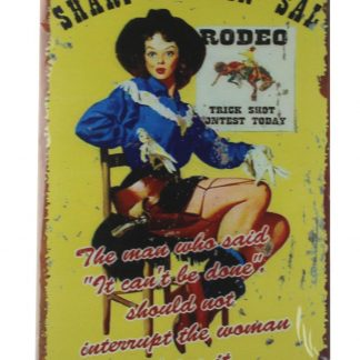 Rodeo lady American western tin metal sign 0135a Metal Sign American