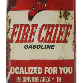 Fire Chief Gasoline tin metal sign 0139a Gas Oil Automotive bathroom wall decor