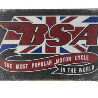 BSA most popular motor cycle tin metal sign 0140a Metal Sign BSA