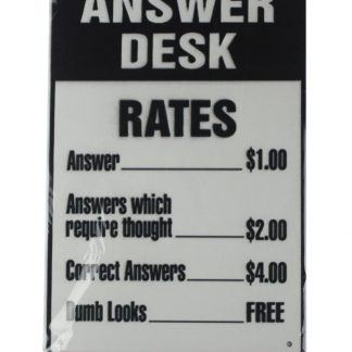 answer desk rates tin metal sign 0145a Metal Sign answer
