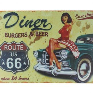 car pin-up girl route US 66 tin metal sign 0168a Gas Oil Automotive car