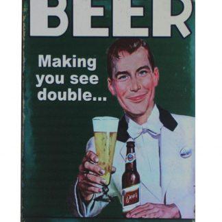 Beer see double feel single tin metal sign 0211a Beer Wine Liquor beer