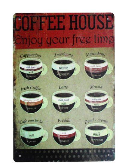 coffee house cafe pub bar tin metal sign 0214a Metal Sign art prints posters