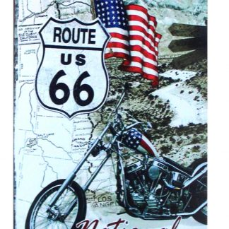 route 66 American flag national old trails road motorcycle tin metal sign 0215a Gas Oil Automotive American