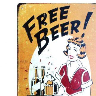 Free beer tomorrow tin metal sign 0217a Beer Wine Liquor beer