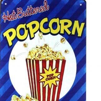 hot buttered popcorn tin metal sign 0218a Metal Sign art prints and posters