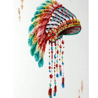 aboriginal first nation feather headdress tin metal sign 0219a Metal Sign aboriginal