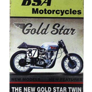 BSA motorcycles gold star tin metal sign 0247a Gas Oil Automotive BSA