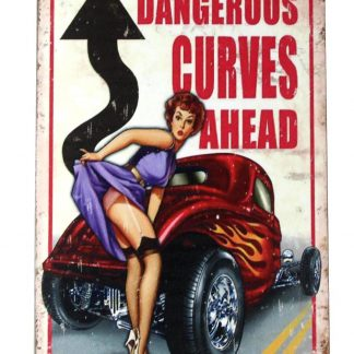 pin up girl dangerous curves ahead metal sign 0248a Metal Sign ahead