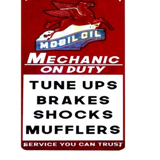 Mobil oil pegasus mechanic on duty metal sign 0252a Gas Oil Automotive at home wall art