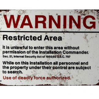 Warning Restricted Area U.S. Military tin metal sign 0275a Metal Sign Area