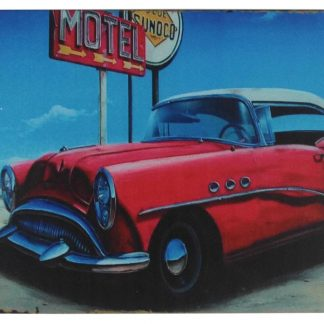 old car motel vintage travel tin metal sign 0333a Gas Oil Automotive car