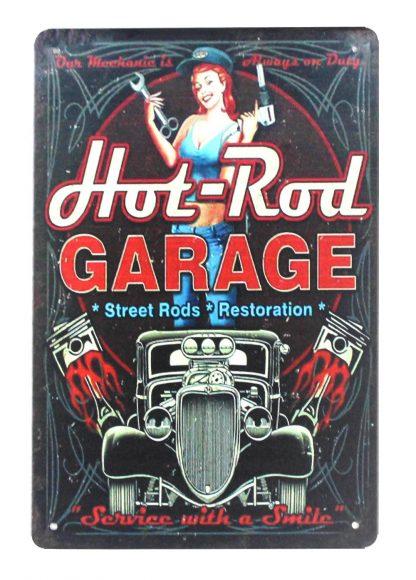 auto car hot rod garage pin-up girl tin metal sign 0351a Metal Sign auto