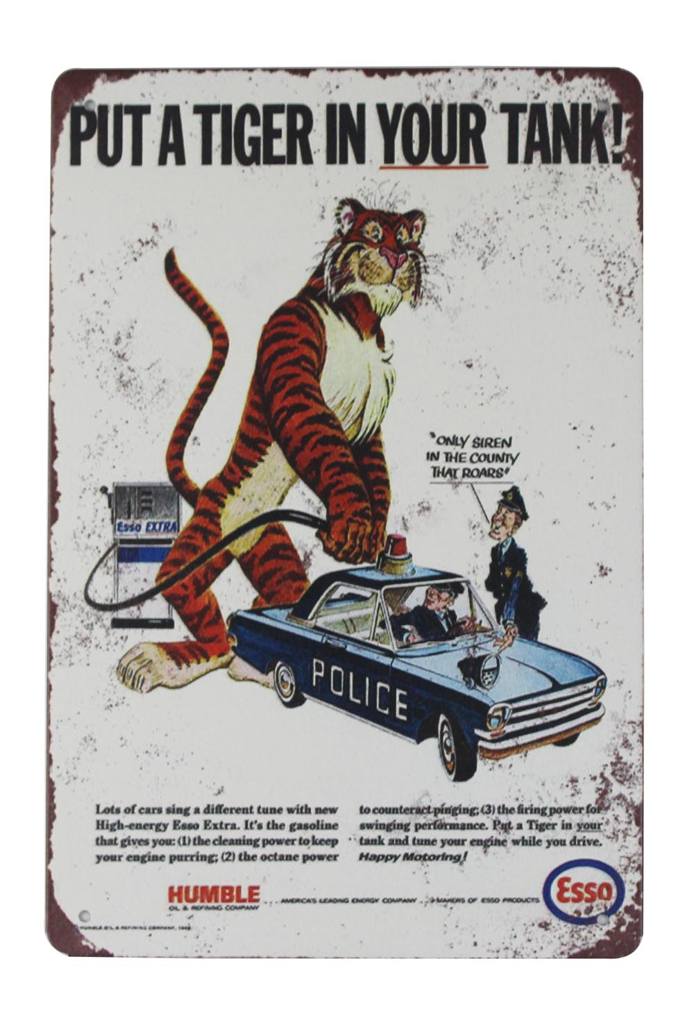 Esso put a tiger in your tank vintage style metal wall plaque sign
