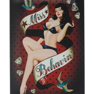 Sexy Girl Miss Behavin pin-up tin metal sign 0366a Gas Oil Automotive at home wall art
