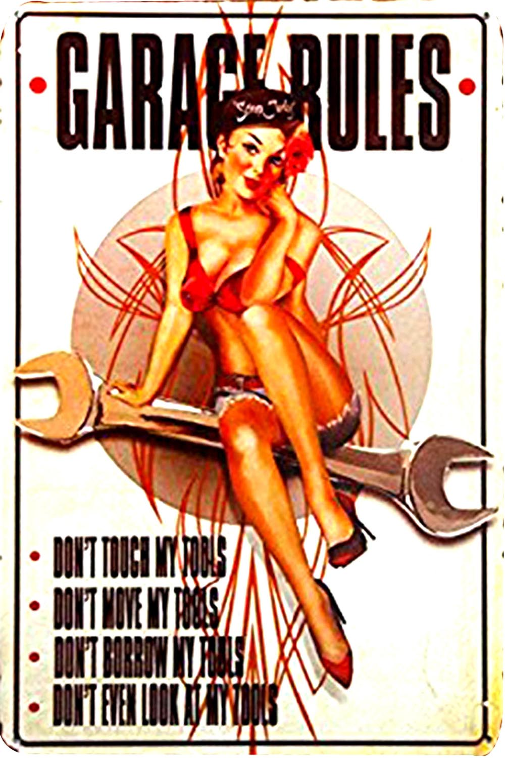 garage rules wrench pin-up girl tin metal sign 0382a