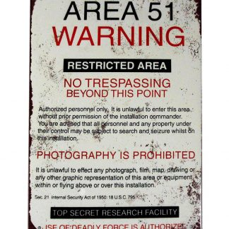 military area 51 warNing sign restricted area tin metal plaque 0410a Metal Sign 51