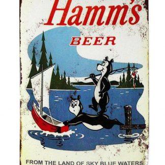 Hamms beer bear fishing lake boat tin metal sign 0414a Beer Wine Liquor bear