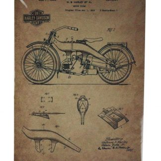 Motorcycle 1923 patent Harley-davidson tin metal sign 0415a Gas Oil Automotive 1923
