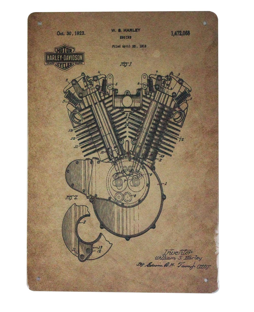 1923 patent Harley-davidson engine motorcycle tin metal sign 0416a Gas Oil Automotive 1923