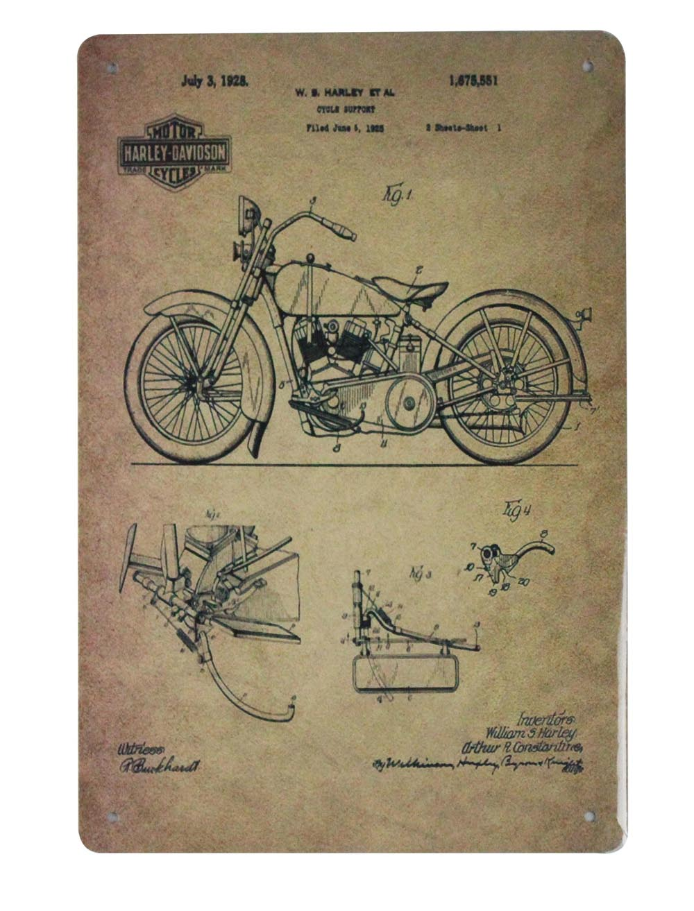 Collectibles Transportation Vintage 1923 Harley Davidson Engine Patent Motorcycle Poster Man Cave Garage Art Other Euro Motorcycle Items Lamezzamt Com Br