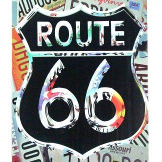 Route 66 tin metal sign 0448a Gas Oil Automotive garage shop